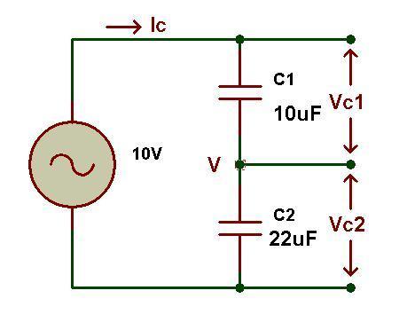 Figura: circuito divisor de voltaje capacitivo