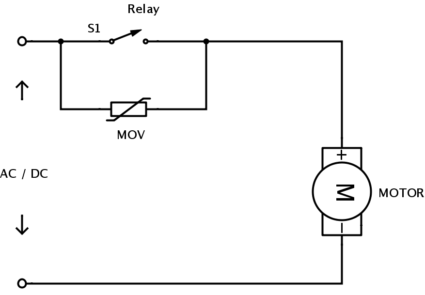 Varistor on 3 phase electric motor wiring