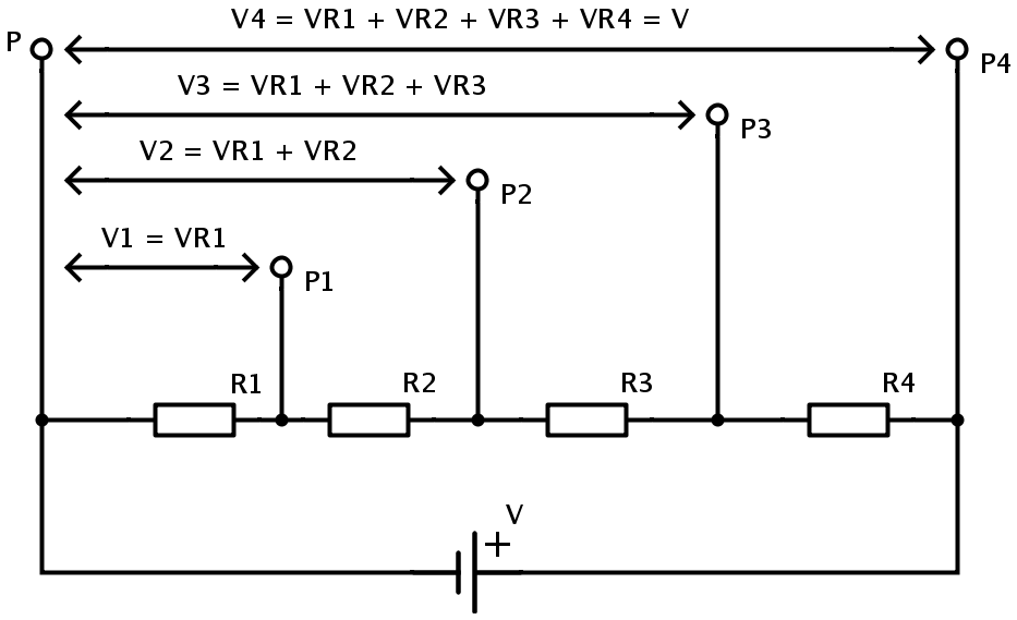 voltage divider circuit potential difference in resistor networks rh electronicshub org