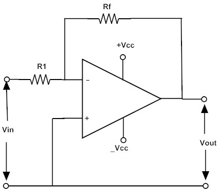 inverting operational amplifiers working and applications rh electronicshub org circuit diagram of op amp as adder circuit diagram of operational amplifier