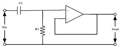 Fig: Circuito activo de filtro de paso alto