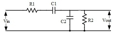 Fig: passive band pass filter circui