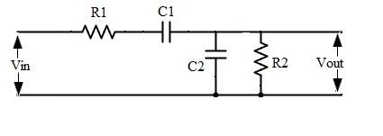 Fig: circuíto pasivo del filtro de paso de banda