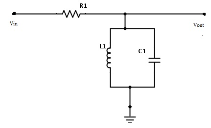 Fig: Band pass filter circuit using R, L and C components