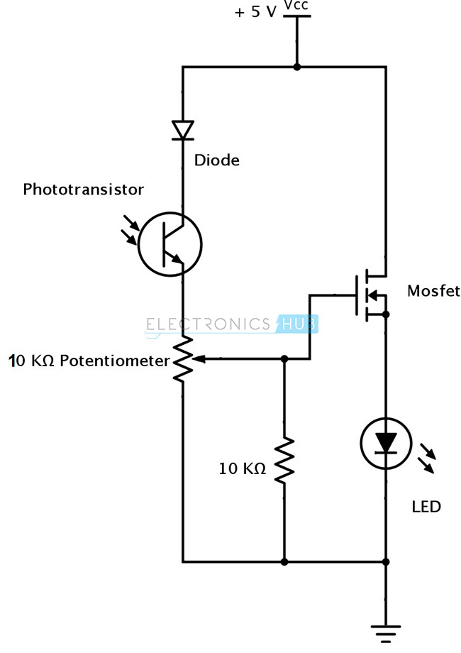 ir infrared obstacle detection sensor circuit rh electronicshub org circuit diagram of ir receiver circuit diagram of pir motion sensor