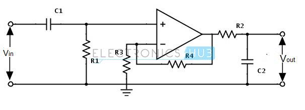 3. diagrama de circuito de filtro de paso de banda activo