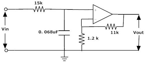 Fig: Filtro de paso bajo activo Ejemplo1