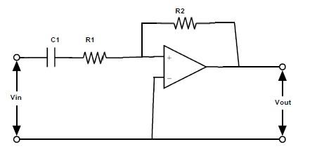 Fig: Filtro de paso alto activo utilizando el amplificador operacional de inversión