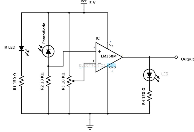 ir infrared obstacle detection sensor circuit rh electronicshub org circuit diagram of ir sensor circuit diagram of ir receiver