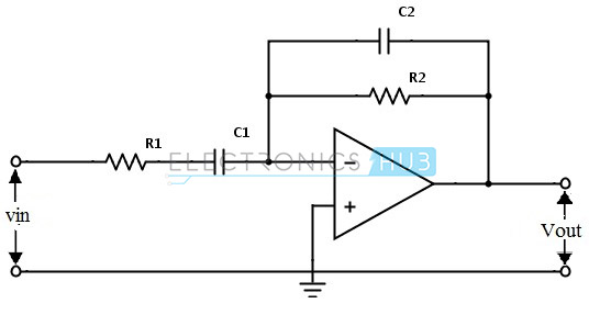 active band pass filter circuit design and applications rh electronicshub org active band pass filter diagram band pass filter frequency diagram
