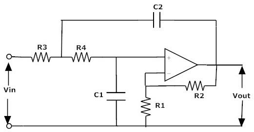 Fig: filtro activo de segundo orden