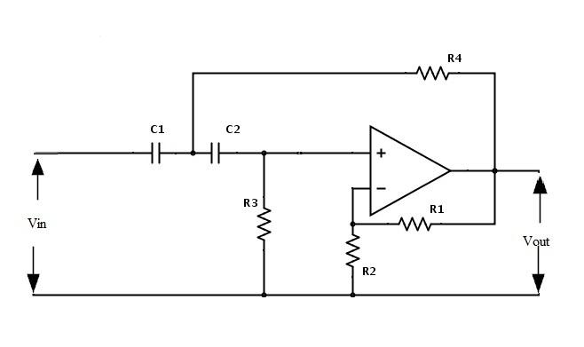 Fig: Circuito de filtro de paso alto activo de segundo orden