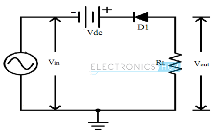 9. Series Positive clipper with positive bias voltage connected in series