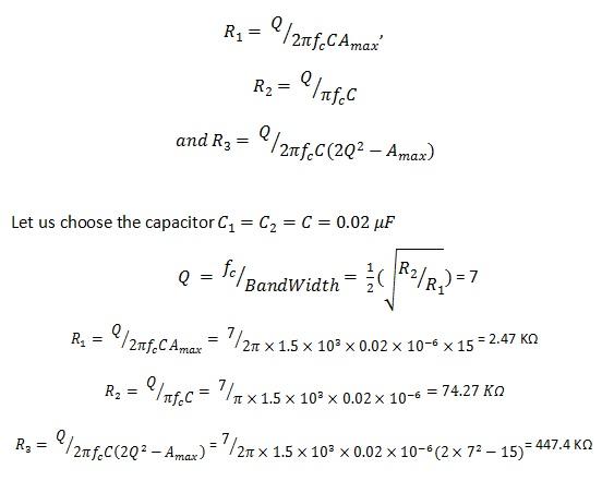 Ecuaciones de ejemplo de filtro de paso de banda activo