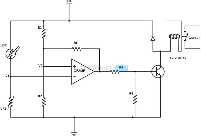 Light Sensing Circuit Using LDR