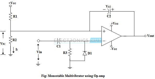 Monostable Multivibrator Using Op-amp