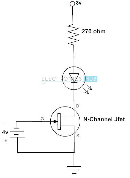N-channel JFET para cambiar el circuito LED