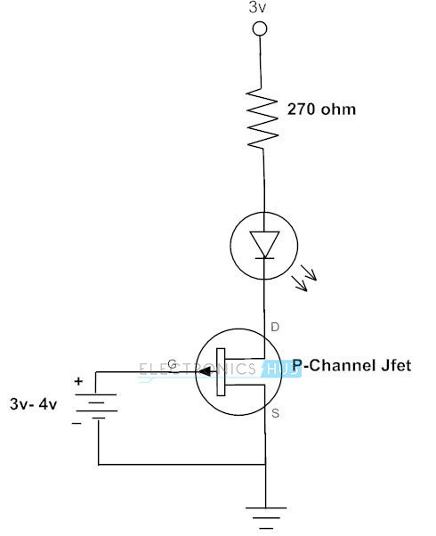 P-Channel JFET para cambiar el LED