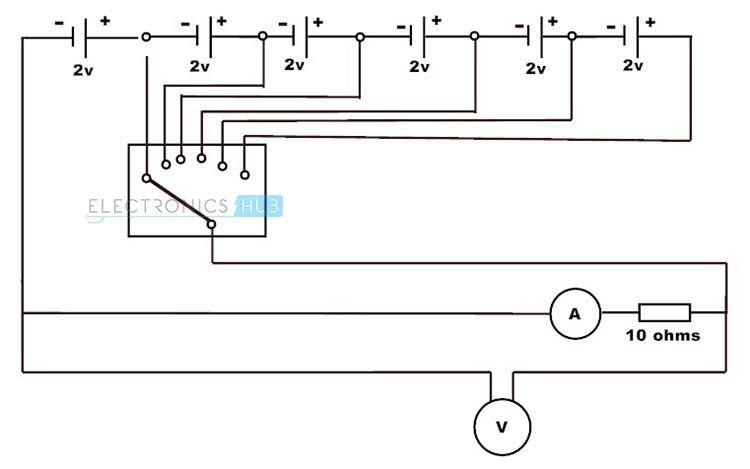 Fuente de tensión ajustable con la resistencia de carga