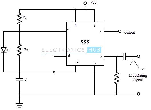 Frecuencia de generación de onda modulada utilizando 555