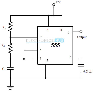 astable multivibrator using 555 timer rh electronicshub org 555 delay timer circuit diagram 555 timer astable mode circuit diagram