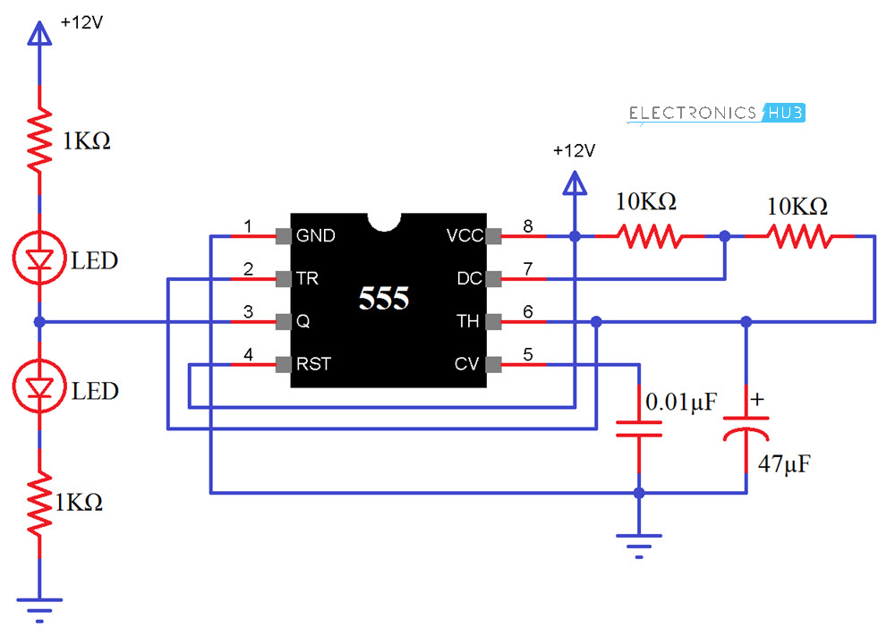 555 Timer IC Testing Circuit Diagram
