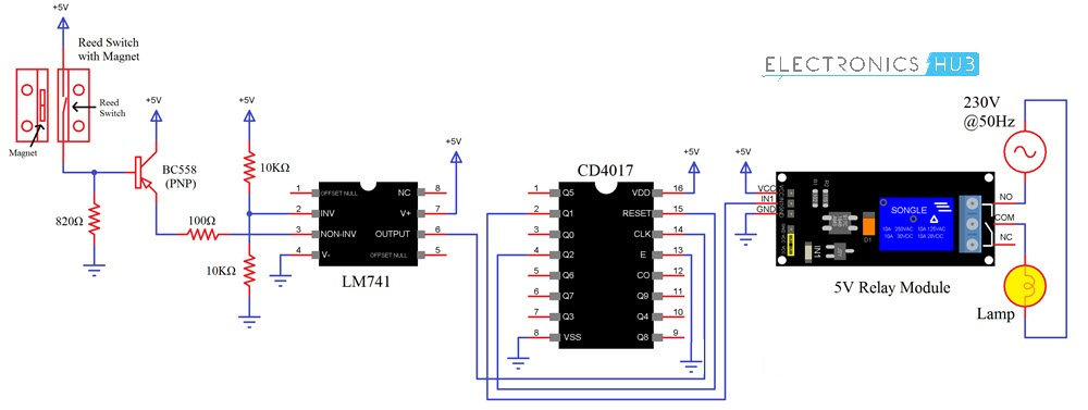 Automatic Washroom Light Switch Circuit Diagram 1