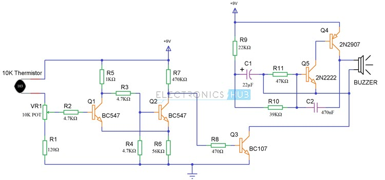 Simple Fire Alarm Circuit Using Thermistor, Germanium Diode