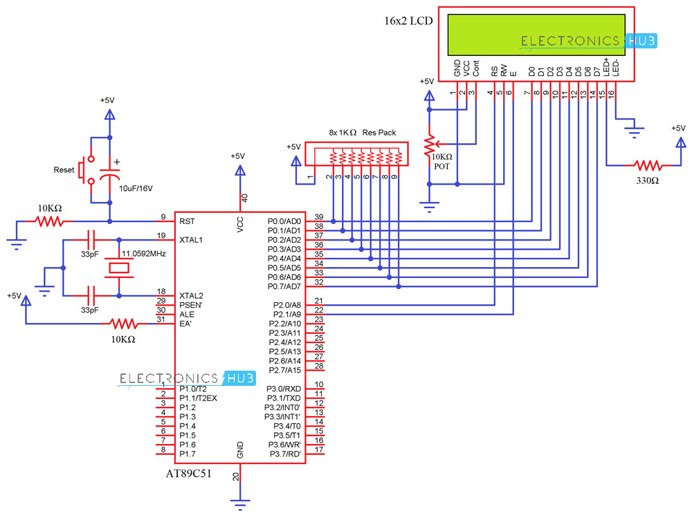 Interfacing 162 Lcd With 8051 Circuit Pin Diagrams And Coding