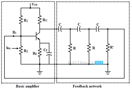 rc oscillator using op amp bjt rh electronicshub org