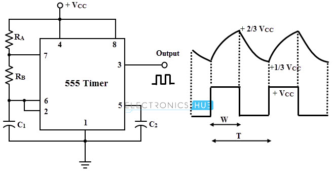 Relaxation Oscillator Circuit using 555 Timer