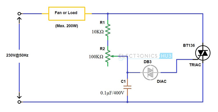 simple fan regulator circuit using triac and diac rh electronicshub org fan circuit diagram symbol table fan circuit diagram
