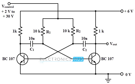 voltage controlled oscillators vco rh electronicshub org VCO Design voltage controlled oscillator vco circuit diagram using lm358