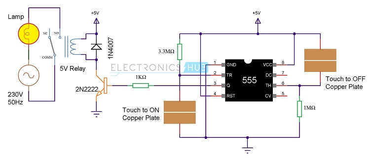 touch on and off switch circuit diagram and working rh electronicshub org capacitive touch switch circuit diagram touch dimmer switch circuit diagram