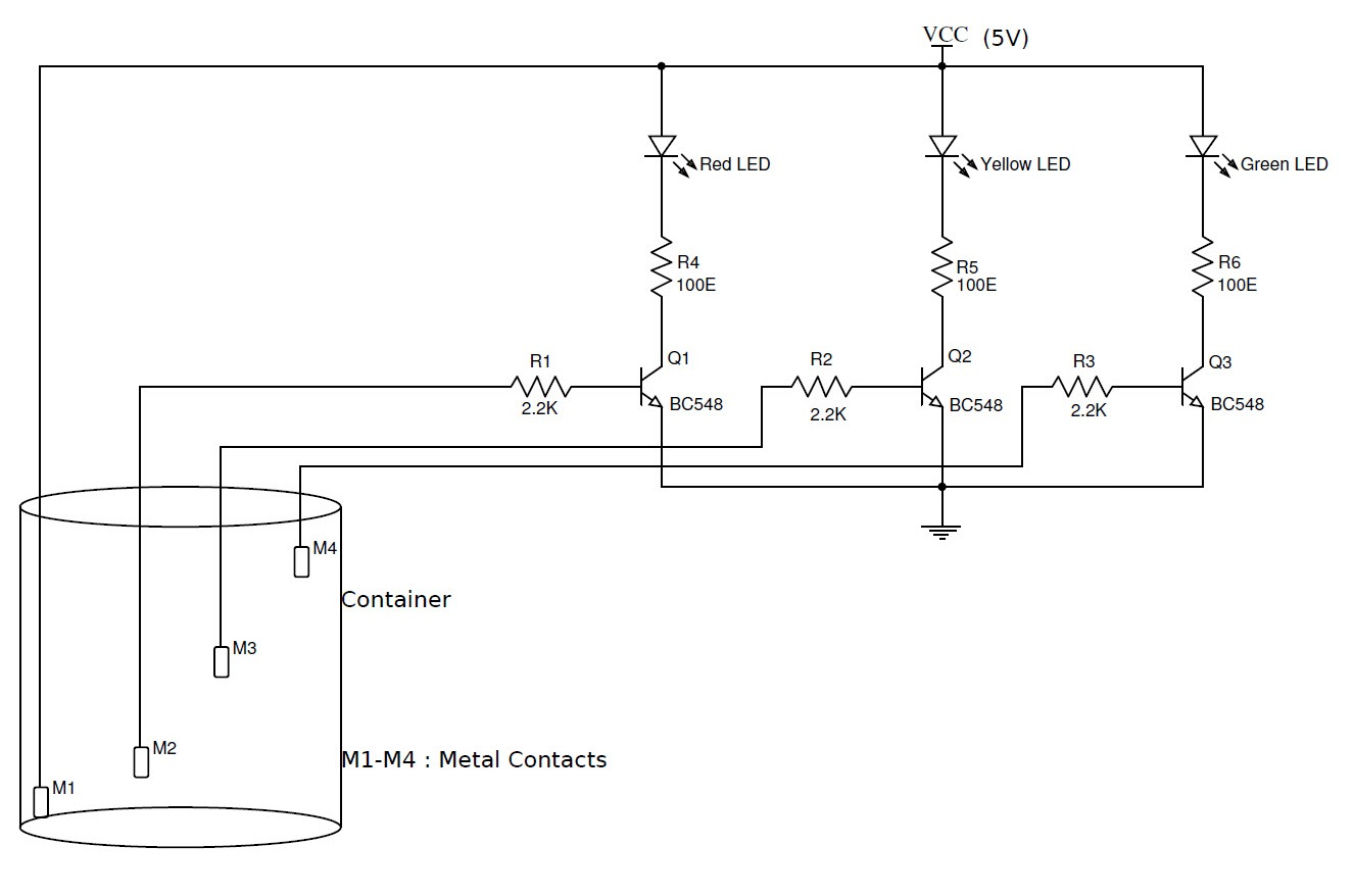 simple water level indicator with alarm 3 tested circuits rh electronicshub org water tank level indicator circuit diagram water level detector circuit diagram