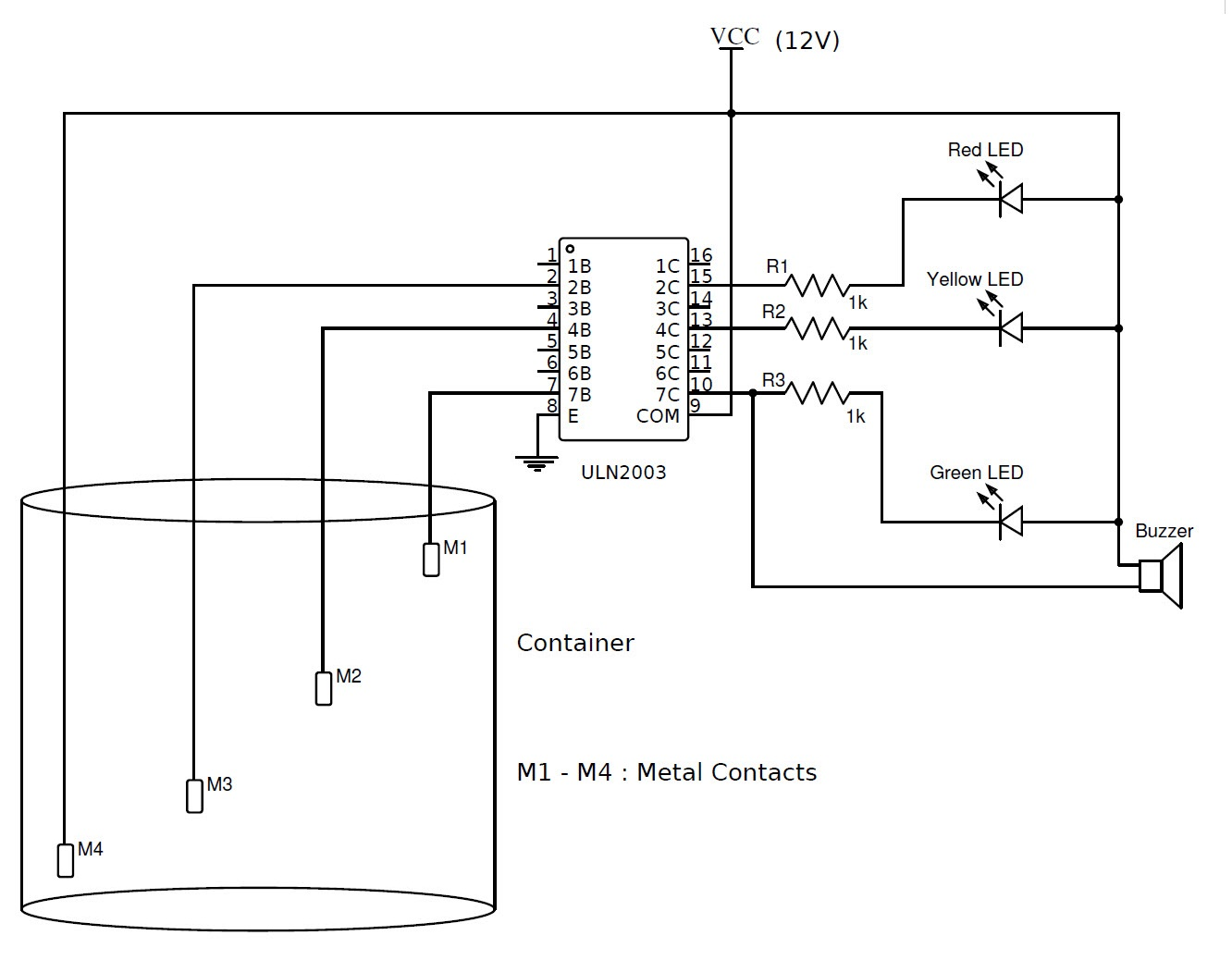 Simple Water Level Indicator With Alarm 3 Tested Circuits Stepper Motor Driver Pcb Circuit Basiccircuit Diagram Using Uln2003