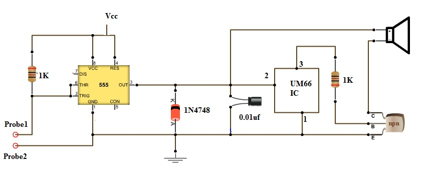 continuity tester circuit continuity tester with melody invisible broken wire detector block diagram of invisible broken wire detector at aneh.co
