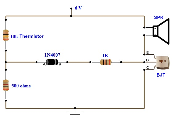 Simple Fire Alarm Circuit Using Thermistor, Germanium Diode and LM341
