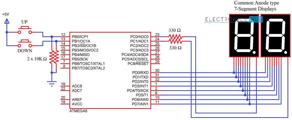 2 Digit Up Down Diagrama de circuito de contador ATmega8