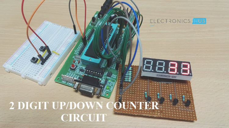 2 Digit Up Down Counter Circuit Using 7 Segment Displays