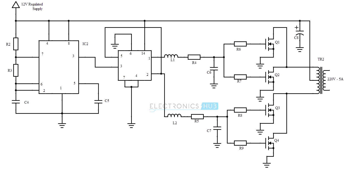 Circuit Diagram. uninterrupted power supply. inverter