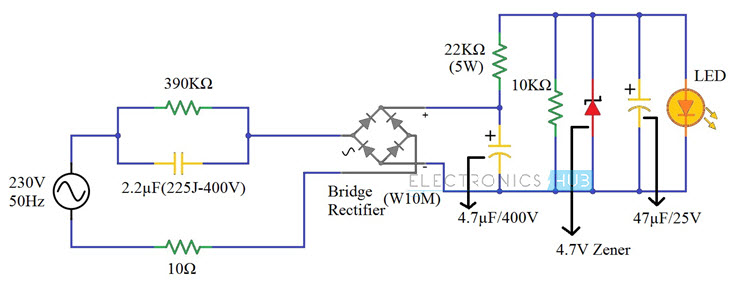 230v led driver circuit diagram working and applications rh electronicshub org led ac circuit diagrams led circuit diagrams free download