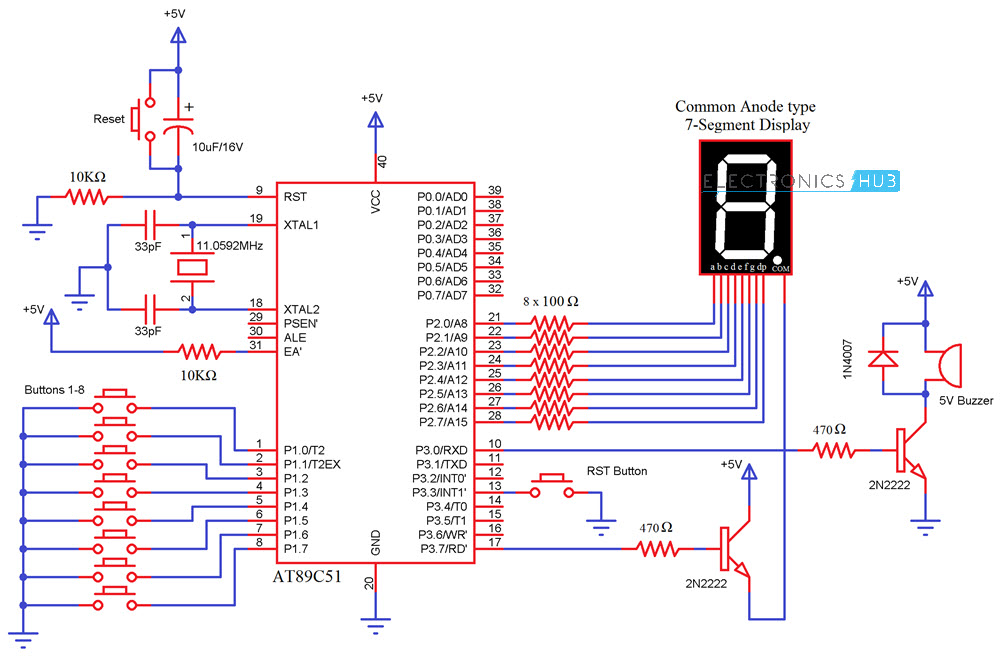 8 channel quiz buzzer circuit using microcontroller 8051 rh electronicshub org