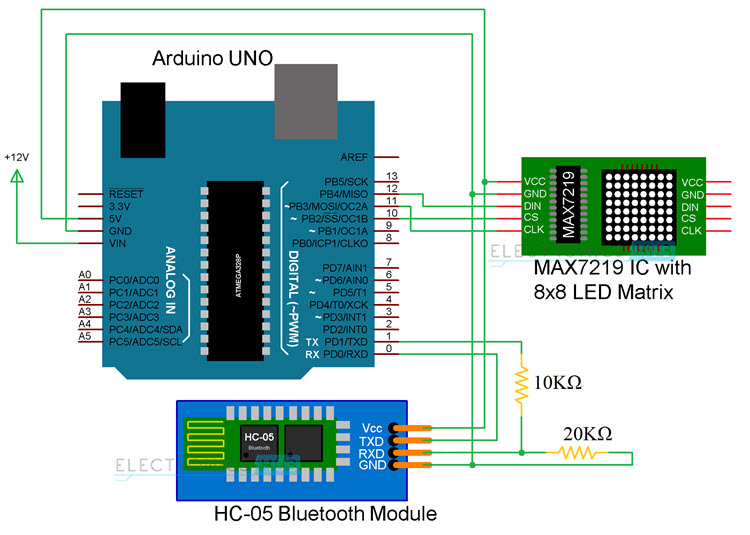 Arduino 8x8 LED Matrix Circuit Diagram