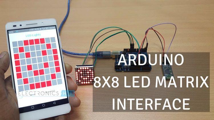 arduino 8x8 led matrix interface max7219 ic rh electronicshub org