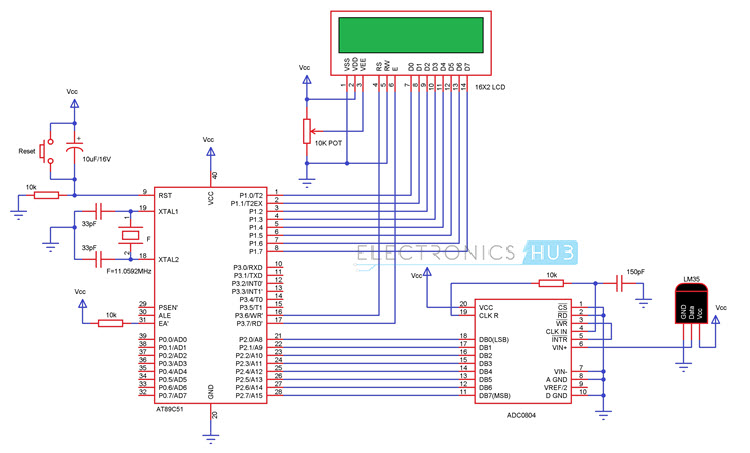 Celsius Scale Thermometer using AT89C51 and LM35 Circuit Diagram