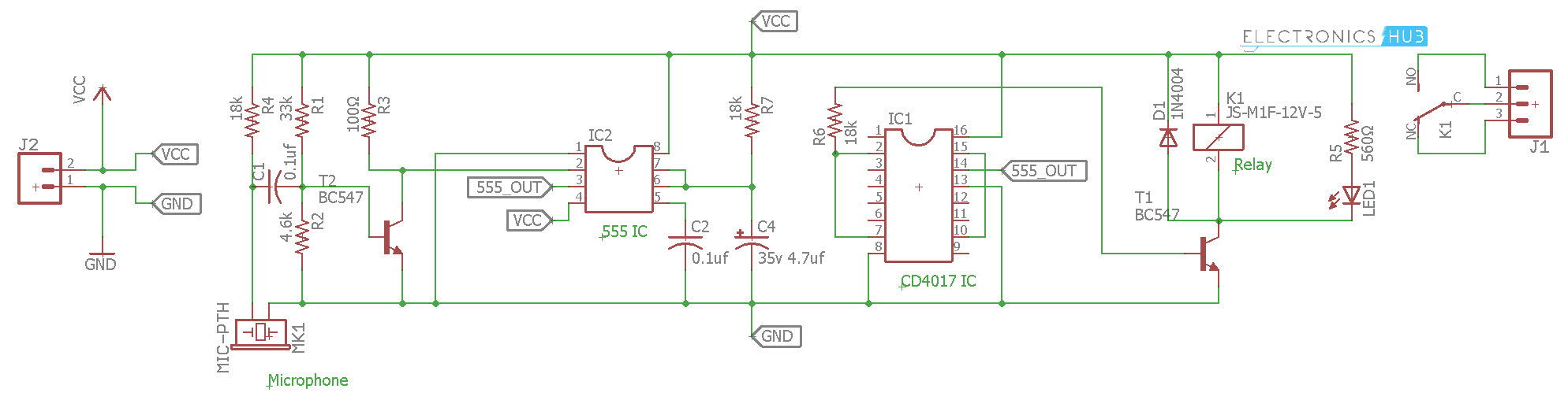 Clap Switch Circuit For Devices Working And Applications Miniature Battery Is Used To Power The Two Transistors T1 Using 555 4017 Diagram