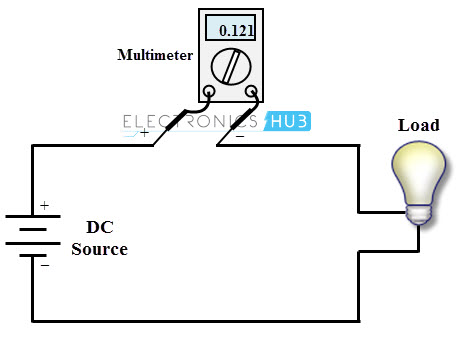 Current Measurement Using Multimeter on circuit diagram from