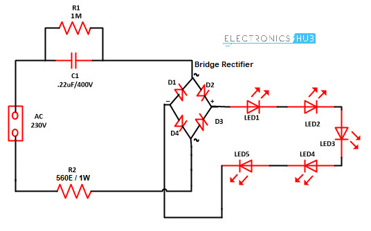 mains operated led light circuit working and advantages