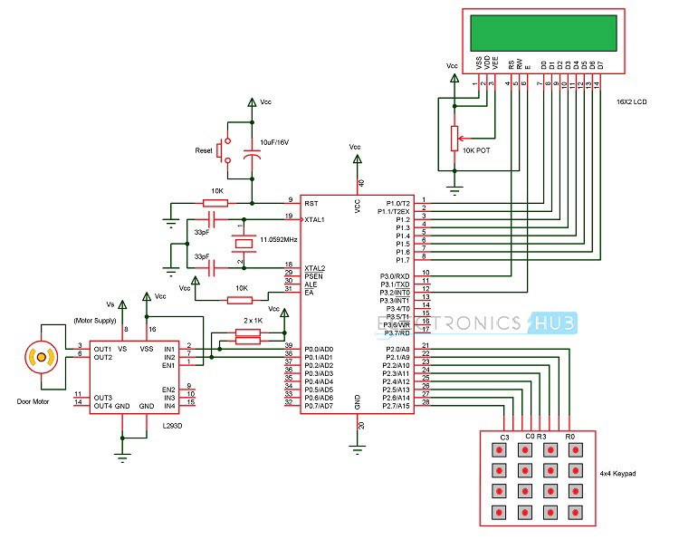Password Based Door Lock System Circuit Diagram